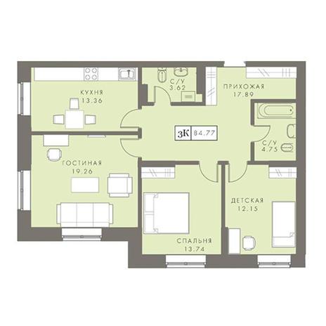 Вариант №2879, 3-комнатная квартира в жилом комплексе