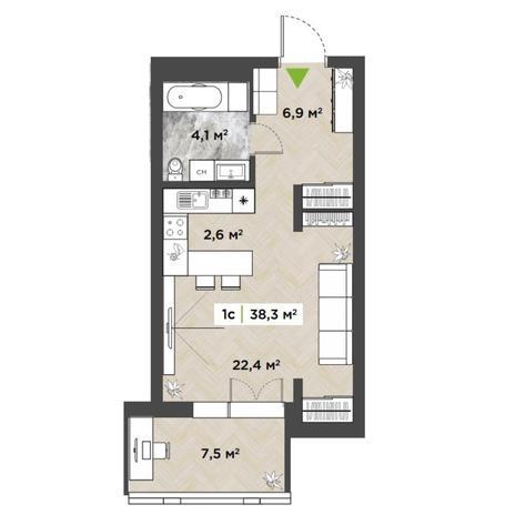 Вариант №5846, 1-комнатная квартира в жилом комплексе