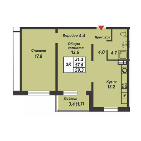 Вариант №3691, 2-комнатная квартира в жилом комплексе Галактика