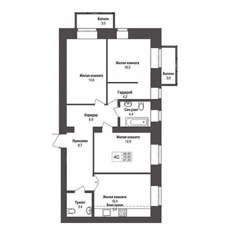Вариант №3150, 4-комнатная квартира в жилом комплексе