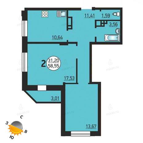 Вариант №1384, 2-комнатная квартира в жилом комплексе Фрунзе 49