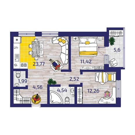 Вариант №3718, 3-комнатная квартира в жилом комплексе