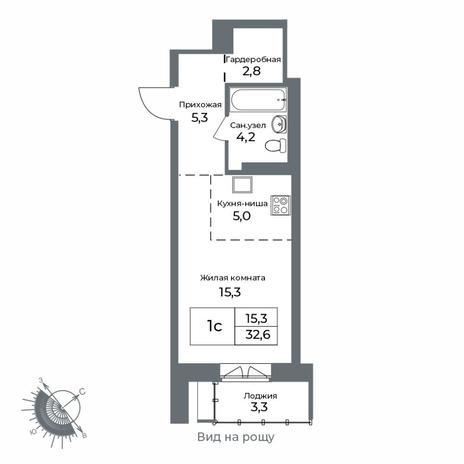 Вариант №5602, 1-комнатная квартира в жилом комплексе NOVA-дом