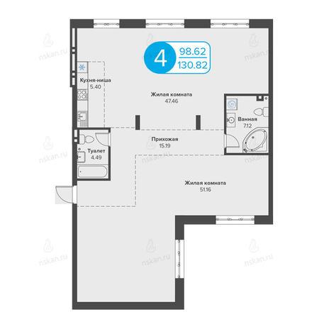 Вариант №2817, 4-комнатная квартира в жилом комплексе Огни Сибири