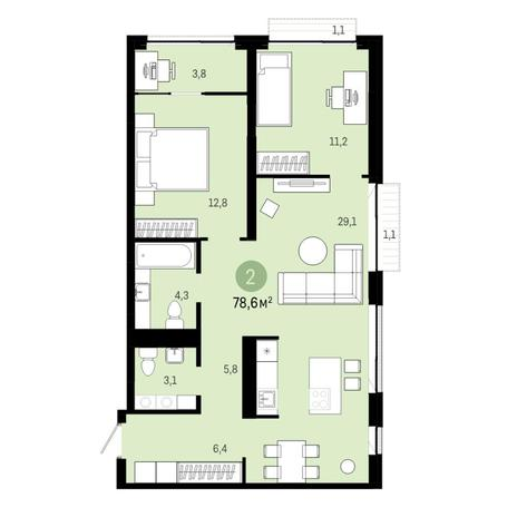 Вариант №6394, 3-комнатная квартира в жилом комплексе