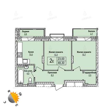 Вариант №1255, 2-комнатная квартира в жилом комплексе Эволюция