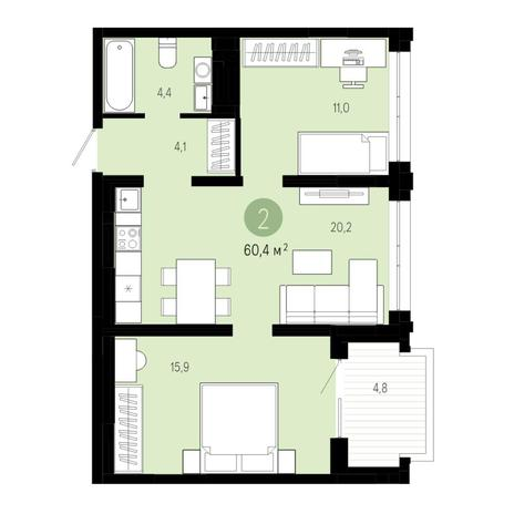 Вариант №4812, 3-комнатная квартира в жилом комплексе