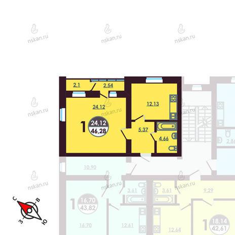 Вариант №416, 1-комнатная квартира в жилом комплексе Ключевой