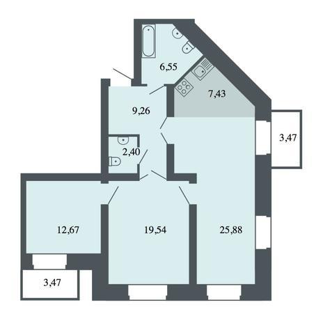 Вариант №4466, 4-комнатная квартира в жилом комплексе Спектр