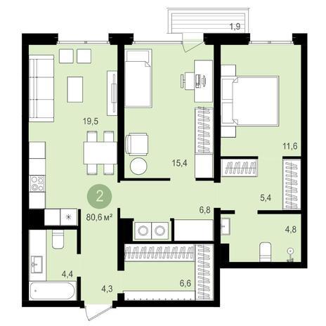 Вариант №4175, 3-комнатная квартира в жилом комплексе Европейский Берег