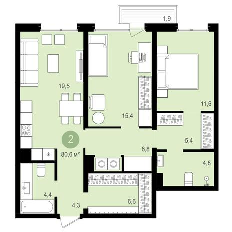 Вариант №4175, 3-комнатная квартира в жилом комплексе
