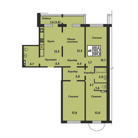 Вариант №3672, 4-комнатная квартира в жилом комплексе