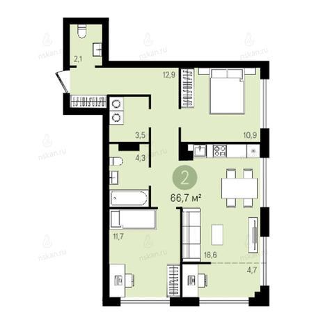 Вариант №2622, 3-комнатная квартира в жилом комплексе Квартал на Никитина