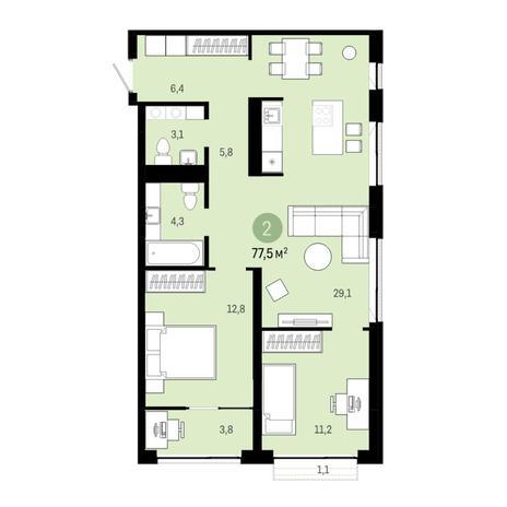 Вариант №6380, 3-комнатная квартира в жилом комплексе