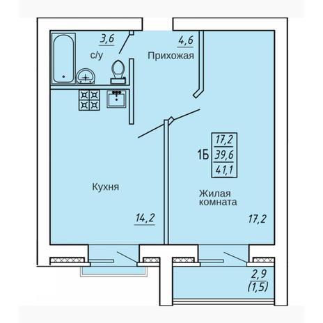 Вариант №4324, 1-комнатная квартира в жилом комплексе Ключевой