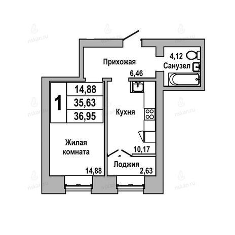 Вариант №1039, 1-комнатная квартира в жилом комплексе ГринАрт