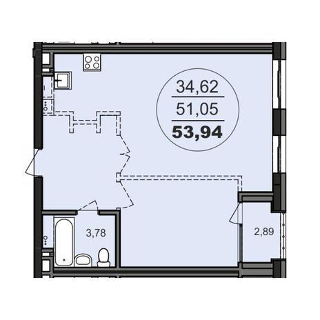 Вариант №3705, 2-комнатная квартира в жилом комплексе