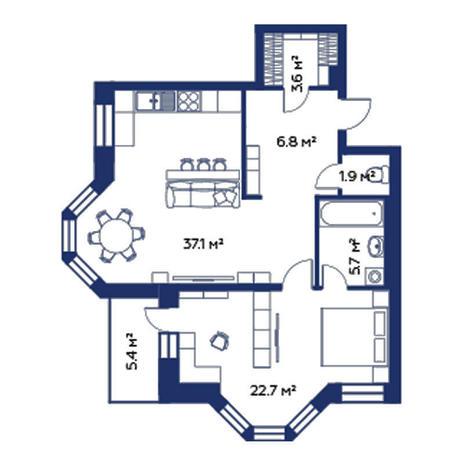 Вариант №506, 2-комнатная квартира в жилом комплексе Montblanc