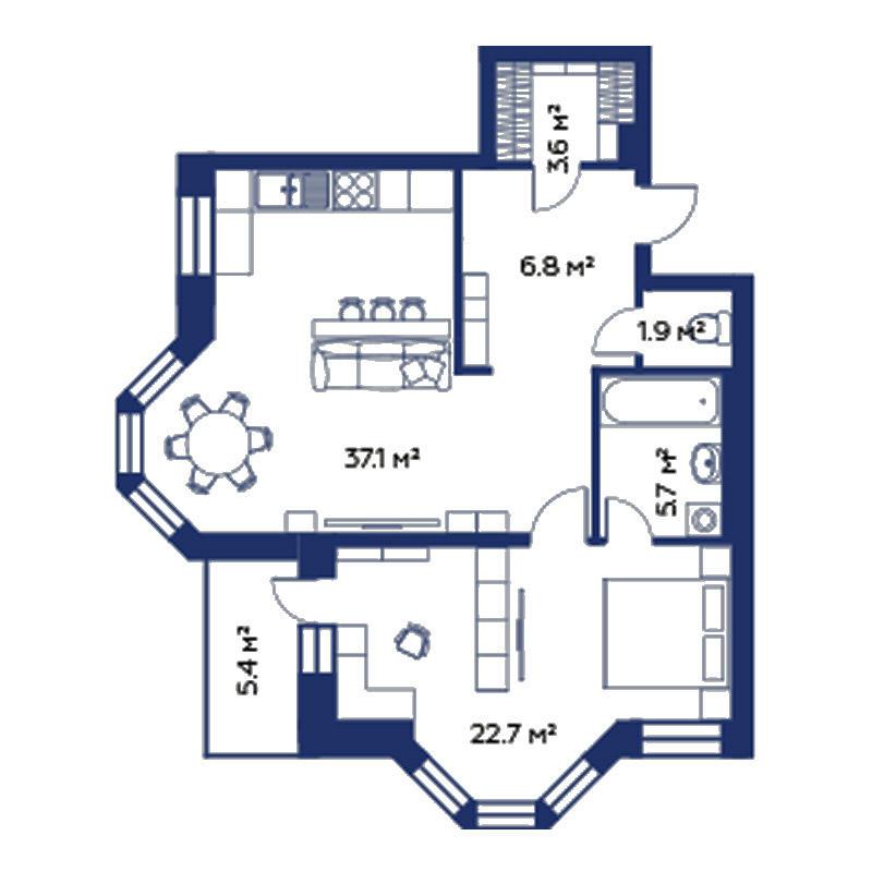 Планировка 2-комн. студия площадью 77.8 м<sup>2</sup> в ЖК Montblanc