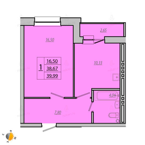 Вариант №1933, 1-комнатная квартира в жилом комплексе