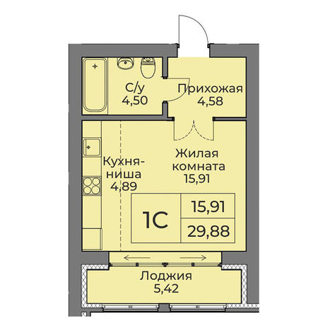 Вариант №3549, 1-комнатная квартира в жилом комплексе