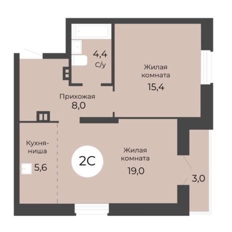 Вариант №5681, 2-комнатная квартира в жилом комплексе