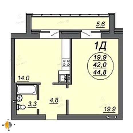 Вариант №2229, 2-комнатная квартира в жилом комплексе Ясный берег