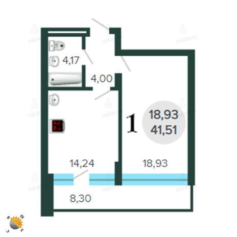 Вариант №2289, 1-комнатная квартира в жилом комплексе Оазис