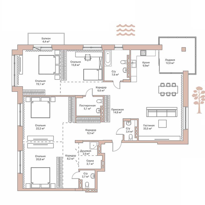 Планировка 4-комнатная площадью 183.5 м<sup>2</sup> в ЖК Flora & Fauna