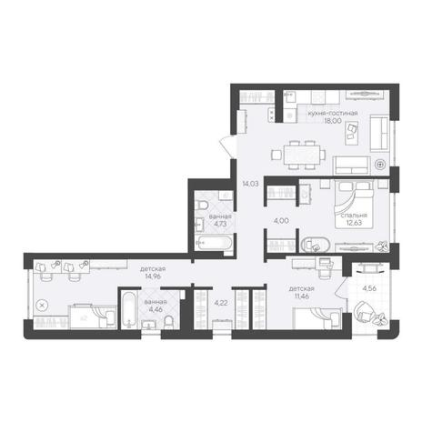 Вариант №6214, 4-комнатная квартира в жилом комплексе