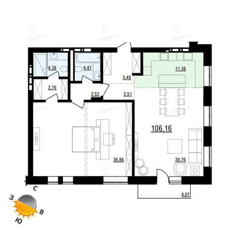 Вариант №877, 3-комнатная квартира в жилом комплексе Жуковка