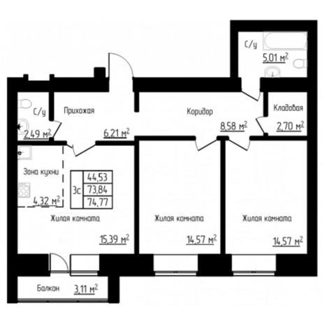 Вариант №4519, 3-комнатная квартира в жилом комплексе Облака