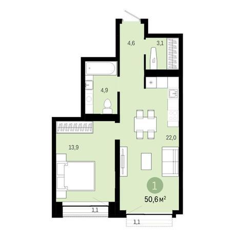 Вариант №6448, 2-комнатная квартира в жилом комплексе