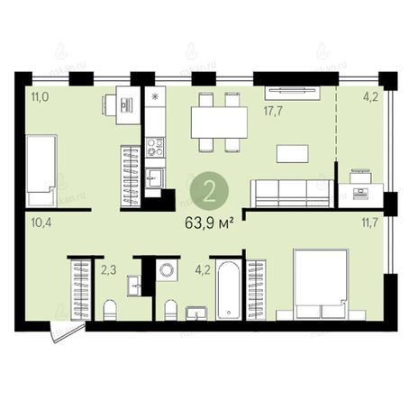 Вариант №2599, 3-комнатная квартира в жилом комплексе Квартал на Никитина