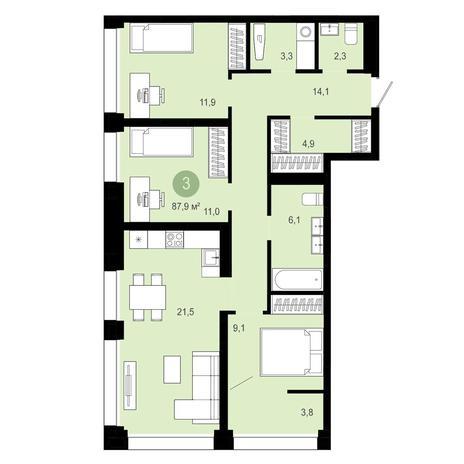 Вариант №4034, 4-комнатная квартира в жилом комплексе Ясный берег
