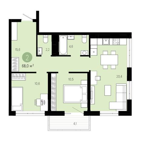 Вариант №4604, 3-комнатная квартира в жилом комплексе