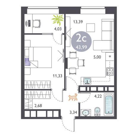Вариант №3367, 2-комнатная квартира в жилом комплексе Ясный берег
