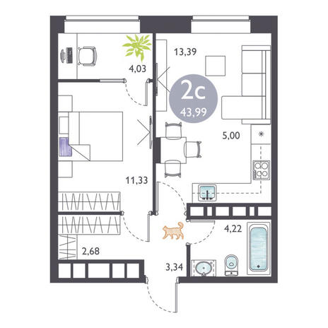 Вариант №3367, 2-комнатная квартира в жилом комплексе