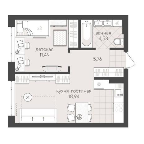 Вариант №6247, 2-комнатная квартира в жилом комплексе