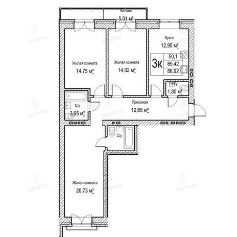 Вариант №1053, 3-комнатная квартира в жилом комплексе Потанинская 2