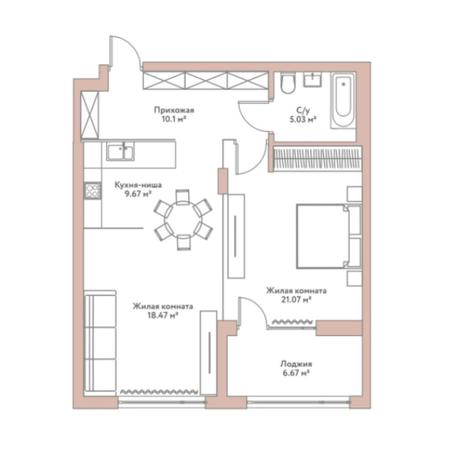 Вариант №5967, 2-комнатная квартира в жилом комплексе