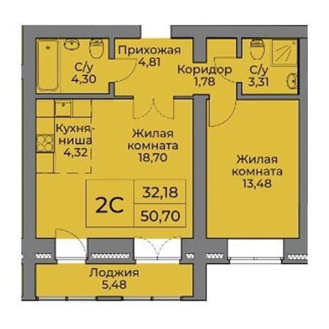 Вариант №3544, 2-комнатная квартира в жилом комплексе