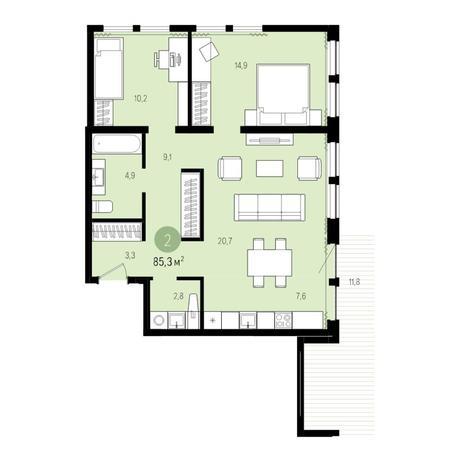 Вариант №5014, 3-комнатная квартира в жилом комплексе Пшеница