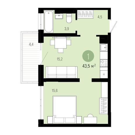 Вариант №4813, 2-комнатная квартира в жилом комплексе Спектр