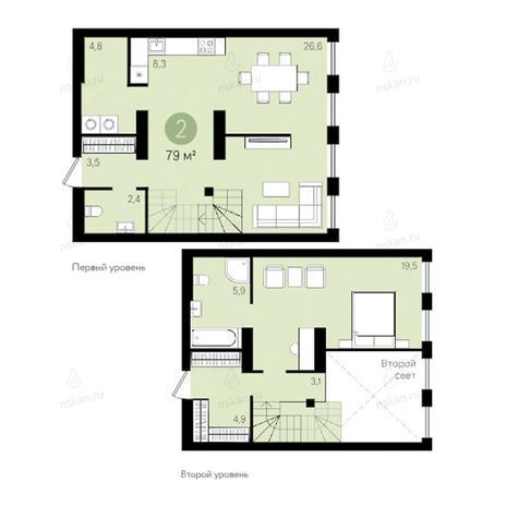 Вариант №2796, 2-комнатная квартира в жилом комплексе Ясный берег