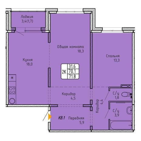 Вариант №5754, 2-комнатная квартира в жилом комплексе
