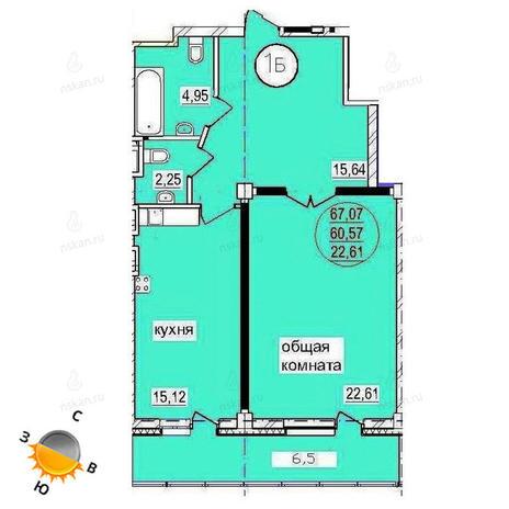Вариант №1445, 2-комнатная квартира в жилом комплексе