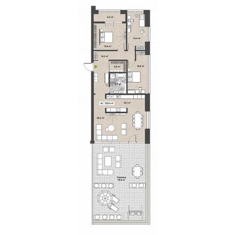 Вариант №5859, 4-комнатная квартира в жилом комплексе
