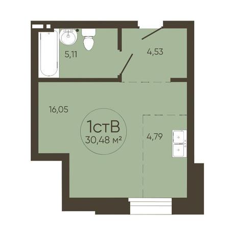 Вариант №3625, 1-комнатная квартира в жилом комплексе