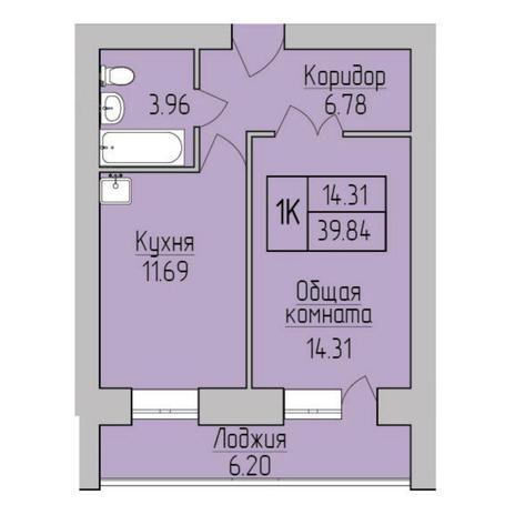 Вариант №5358, 1-комнатная квартира в жилом комплексе